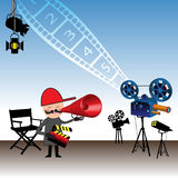 The movie director. Colorful illustration with movie director holding a clapboard and giving instructions through a megaphone. Directing films theme royalty free illustration