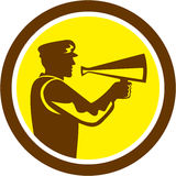 Movie Director Bullhorn Side Circle Retro Royalty Free Stock Photography
