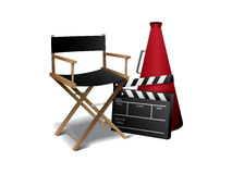 Movie director chair. With clapper board royalty free illustration