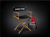 Movie director chair. With clapperboard royalty free illustration