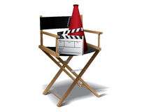Movie director chair. With clapperboard stock illustration