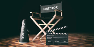Movie director chair and clapper on wooden background. 3d illustration. Cinema director chair and clapper on wooden background. 3d illustration Stock Photos