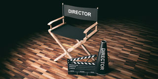 Movie director chair and clapper on wooden background. 3d illustration. Cinema director chair and clapper on wooden background. 3d illustration Royalty Free Stock Images
