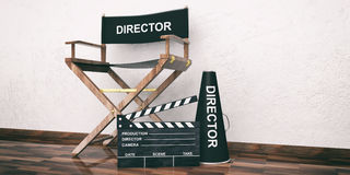Movie director chair and clapper on wooden floor. 3d illustration. Cinema director chair and clapper on wooden floor. 3d illustration Royalty Free Stock Photography