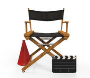 Movie Director Chair. Isolated on white background. 3d render Stock Photos