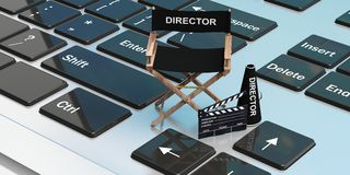 Movie director chair on a laptop. 3d illustration. Movie director chair on a computer keyboard. 3d illustration Stock Images