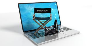 Movie director chair on a laptop on white background. 3d illustration. Movie director chair on a laptop isolated on white background. 3d illustration Stock Photos