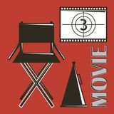 Movie director chair megaphone and film strip countdown. Vector illustration Stock Image