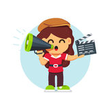 Movie director girl in directors hat standing. With with loud speaker and clapperboard. Flat style cartoon vector illustration isolated on white background vector illustration