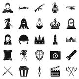 Movie director icons set, simple style. Movie director icons set. Simple set of 25 movie director vector icons for web isolated on white background Royalty Free Stock Images
