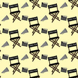 Movie director stuff pattern. On the yellow background. Vector illustration Royalty Free Stock Image