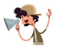 Movie director yelling cut  illustration cartoon character Stock Photos