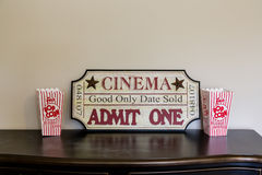 Movie Display with Popcorn Royalty Free Stock Photos