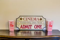 Movie Display with Popcorn royalty free stock photography