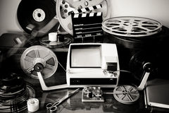 Movie editing vintage desktop stock photo