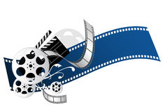 Movie elements. Film reel, filmstrip, clapperboard, and floral ornament Stock Image