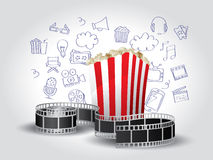 Movie Elements with Doodle. Realistic Movie Elements with Doodles Royalty Free Stock Image