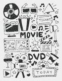 Movie elements doodles hand drawn line icon, eps10 Stock Photography