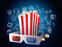 Movie Elements with Doodles Stock Photography