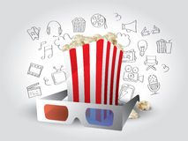 Movie Elements with Doodles Stock Photos