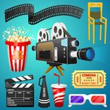 Movie elements set. Vintage cinema, entertainment and recreation with popcorn. Retro poster background. Clapperboard and. Camera, Filmmaking and video cassette Royalty Free Stock Photo