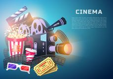 Movie elements set. Vintage cinema, entertainment and recreation with popcorn. Retro poster background. Clapperboard and. Camera, Filmmaking and video cassette Stock Images