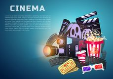 Movie elements set. Vintage cinema, entertainment and recreation with popcorn. Retro poster background. Clapperboard and. Camera, Filmmaking and video cassette Stock Photography