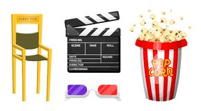 Movie elements. Vintage cinema, entertainment and recreation with popcorn. Retro Clapperboard. Filmmaking and video. Cassette, chair, film stock for Hollywood Royalty Free Stock Images