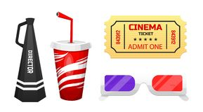 Movie elements. Vintage cinema, entertainment and recreation. Retro poster background. Filmmaking and video cassette. Drink and ticket, 3d glasses and Royalty Free Stock Images