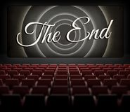 Movie ending screen in old retro cinema Stock Image