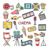 Movie entertainment vector icon set. Pictures in hand drawn style. Tv and cinema color hand drawn equipment illustration Stock Image