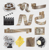 Movie Equipments Colourful Vector Collection. Poster of celluloid types, lightning searchlight, paper tickets and other traditional elements set for film Stock Image