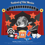 Movie Festival Poster. With film industry symbols flat vector illustration Royalty Free Stock Image