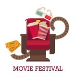 Movie festival promotional poster with cinema chair and food. Movie festival promotional poster with cinema chair, big paper cup of drink, pack of popcorn, 3D Stock Photos