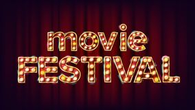 Movie Festival Sign Vector. Vintage Cinema 3D Glowing Element. For Theater, Cinematography Design. Modern Illustration. Movie Festival Sign Vector. Vintage Royalty Free Stock Image
