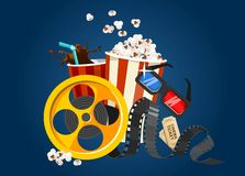 Movie film concept with popcorn, 3D glasses, tape and tickets. Cinema illustration for the film industry. Flying food and elements