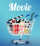Movie Film, 3d Glasses and movie ticket in a shopping cart Royalty Free Stock Photos