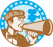 Movie Film Director With Bullhorn And Camera Retro. Illustration of a movie director shouting using bullhorn with vintage film video camera set inside circle Stock Image