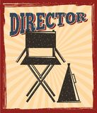Movie film director chair and megaphone speaker retro poster. Vector illustration Royalty Free Stock Image