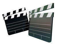 Movie Film Director Clapper Boards Two 2 Blank Copy Space. Two movie clapper boards with blank space to place your words or message, illustrating entertainment Stock Images