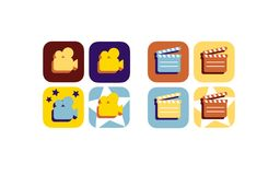 Movie - film flat icon  set. Vector collection of colorful flat movie icons. can be used for mobile and web applications Stock Photography