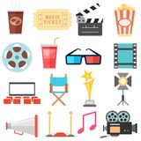 Movie and Film icon set. Illustration of flat style movie and film icon set Royalty Free Stock Photo
