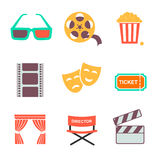 Movie and film icons set. Flat style design. Concept. Vector illustration Royalty Free Stock Photos