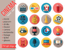Movie and film icons set. Flat style design. Vector illustration Royalty Free Stock Images