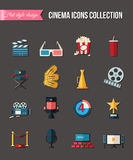 Movie and film icons set. Flat style design. Vector illustration. Royalty Free Stock Image