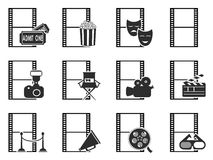 Movie film icons set. Isolated movie film icons set from white background Stock Images