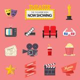 Movie and film icons set. Vector illustration Stock Images
