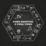Movie film-making line art icons concept. Production action to cinema, vector illustration Royalty Free Stock Photography