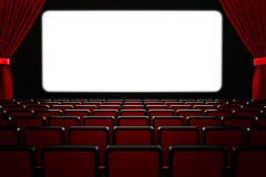 Movie film premiere and show performance concept. Theatre hall interior, dark empty cinema auditorium with blank white wide screen, rows of seats and red velvet Stock Photos