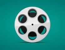 Movie film reel. Old movie roll, silver film reel Stock Photo